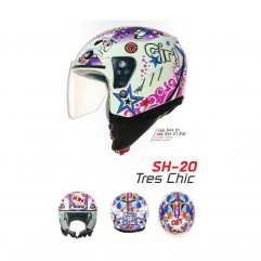Casco Shiro SH20 TRES CHIC II MICRA WHITE JUNIOR